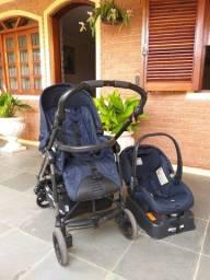 Kit carrinho e bebê conforto com base do carro