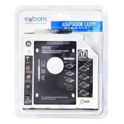 "Adaptador Caddy leitor de cd/dvd para HD ou SSD 2,5"" Sata - Exbom"
