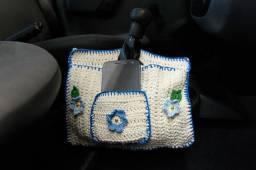 Lixeira e porta celular para carro em crochê