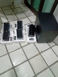 Conjunto de caixas Klipsch 5.1 hd teather 300 com Subwoofer Ativo 80W