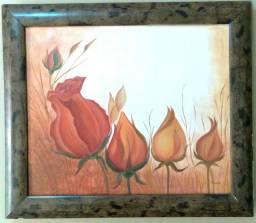 Título do anúncio: Quadro óleo sobre tela Botões de rosas