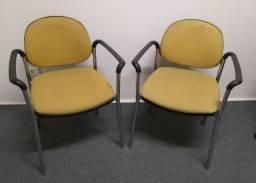 Título do anúncio: Kit Cadeiras Secretária Fixa com Braços estrutura de aço cromado
