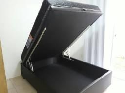 Cama. Cama Box Bau Casal Com Colchão D33 Espuma 138x188 MOntreal ( Completo )