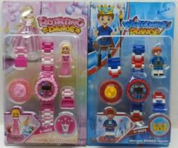 Relógio Infantil Princesas Ou Príncipes Bloco De Montar
