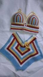 conjunto de crochê tamanho M