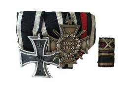 Barrete WWI  Cruz de Hindenburg + Cruz de ferro 2ª classe + pin de lapel
