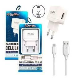 Carregador + Cabo KinGo Original 1.2a Micro USB V8 Para Celular Smartphone U101 android