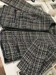 Casaco Tweed branco e preto Novo
