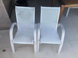 8 Cadeiras de tela e aluminio para area externa
