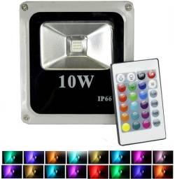 Refletor De Luz Colorida Rgb 10w 16 Cores Com Controle Ip66 - 81351