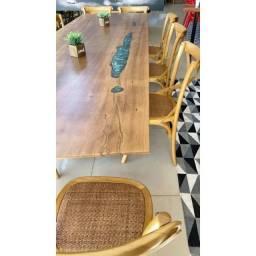 Mesa de Jantar Madeira Maciça Pequiá Resinada 3,00x 0,76 x 0,82