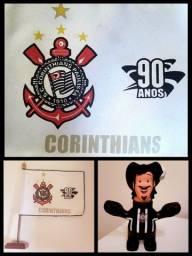 Kit Bandeira Oficial do Corinthians (2,56 X 1,80) + Bandeira de Mesa + Mascote