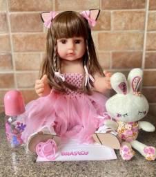 Linda Boneca Bebê Reborn toda em Silicone Realista 55cm Nova Original (aceito cartão )