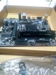 Placa mãe H110M-H Gigabyte + 8Gb memória ram HyperX Fury