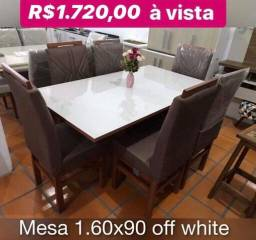 Promoção mesa 1.60x90 c 6 cadeiras em madeira