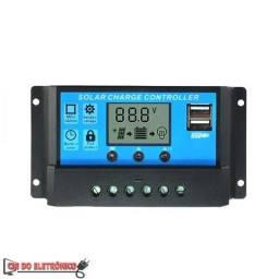 Controlador de Carga Painel Solar 30A 12V/24V Lcd 2 Usb