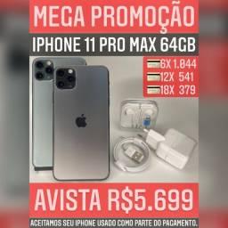 iPhone 11 Pro max 64gb, somos loja, aceitamos o seu iPhone usado como parte do pagamento.