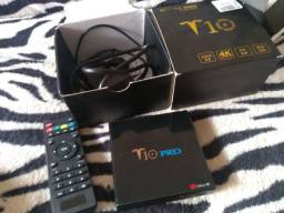 TV Box T10 na caixa