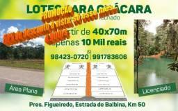 Lotes para chácara em Presidente Figueiredo, a partir de 40x72mt por apenas 5.000