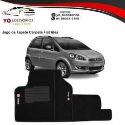 Jogo de Tapete Carpete Fiat Idea Preto Bordado 5 Peças