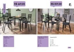 Mesa de Jantar Malva Tampo de Vidro 4 e 6 Cadeiras