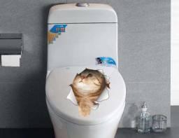 Adesivo 3D Gatos Domésticos para decoração de Paredes/Banheiros/Vaso Sanitário