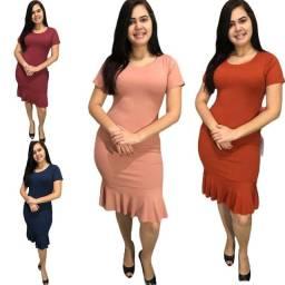 Kit 10 Vestidos malha Canelada para revenda