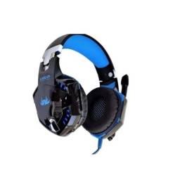 Fone De Ouvido Gamer Headset Knup 455a Azul C/ Led Microfone