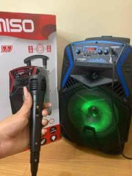 Caixa de Som Kimiso 1000w com microfone e karaokê