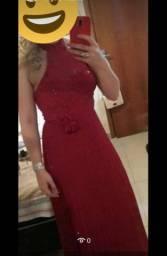 Vestido longo de festa, cor vermelho