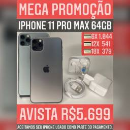 iPhone 11 Pro max 64gb, aceitamos seu iPhone usado como parte do pagamento.