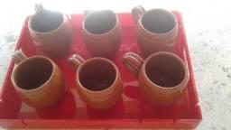 Conjunto com 6 lindas canecas de cerâmica