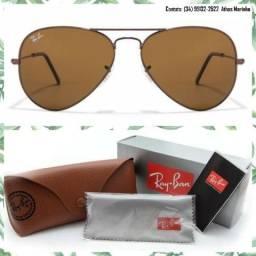 Óculos Ray-Ban Aviador 3025 (Lente marrom/Armação marrom)