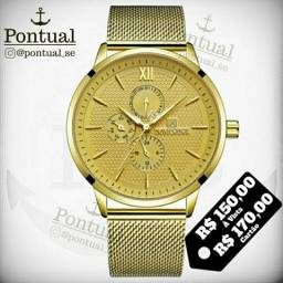 bc36295aef9 Relógio de Luxo Dourado NaviForce Original Todo Funcional À Prova D água  Pulseira Milanese