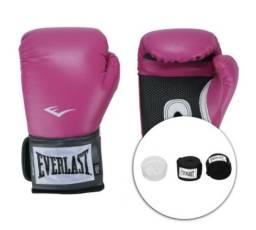 Kit de Boxe Everlast: Bandagem + Protetor Bucal + Luvas de Boxe Training (Entrega em GO)