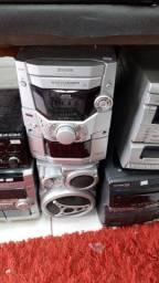 Aparelho de som sistem com 5 cds funcionando