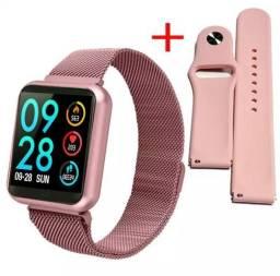 Smartwatch relógio inteligente rosa aço