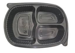 Embalagem Marmitex 3 divisorias Freezer Microondas - Pack 40 unid