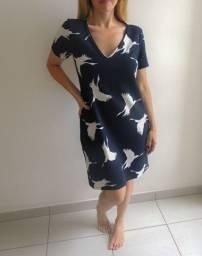 Vestido Estampado Azul - Tam M