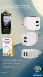 Carregador Rapido de Parede Duas Portas USB 2.4A Telefone Viagem