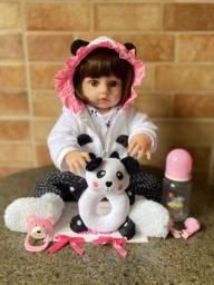Linda Boneca bebê Reborn toda em Silicone realista 48cm nova (aceito cartão )