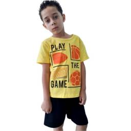 Conjunto Infantil Menino Masculino Bermuda e Blusa Promoção Novo