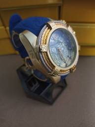 Relógio masculino dourado pulseira azul