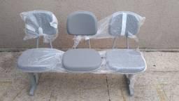 Cadeira secretária longarina 3 lugares