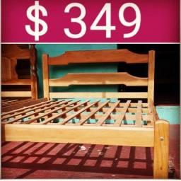 Cama de madeira maciça no dinheiro só 349