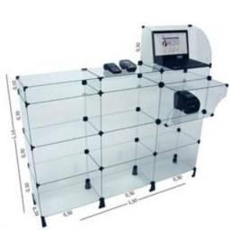 Balcão caixa de vidro modulado cosméticos, papelarias, farmácias, celulares, acessórios