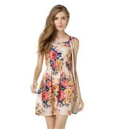 Vestido de Chiffon Floral Verano Robe Femme