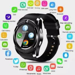 Relógio smart watch v8 com entrada chip sd