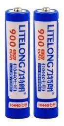 Pilha Bateria AAA Recarregável Li-ion 3,8v 4,2v 350mah 10440
