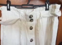 Conjunto de saia e blusa em linhão